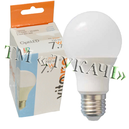 Лампа LED VITOONE A60 7,7W E27 6400K Optiled 1500520